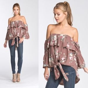 LYNH Floral Front Tie Top - MOCHA